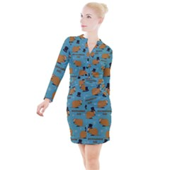 Groundhog Day Pattern Button Long Sleeve Dress