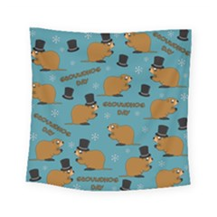 Groundhog Day Pattern Square Tapestry (small)
