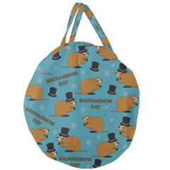 Groundhog Day Pattern Giant Round Zipper Tote