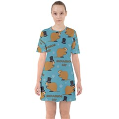 Groundhog Day Pattern Sixties Short Sleeve Mini Dress