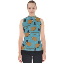 Groundhog Day Pattern Mock Neck Shell Top