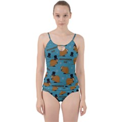 Groundhog Day Pattern Cut Out Top Tankini Set