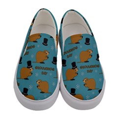 Groundhog Day Pattern Women s Canvas Slip Ons