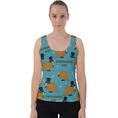 Groundhog Day Pattern Velvet Tank Top