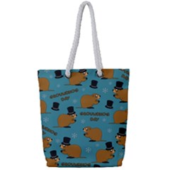 Groundhog Day Pattern Full Print Rope Handle Tote (small)