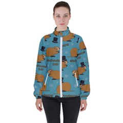Groundhog Day Pattern High Neck Windbreaker (women)