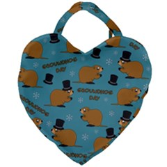 Groundhog Day Pattern Giant Heart Shaped Tote