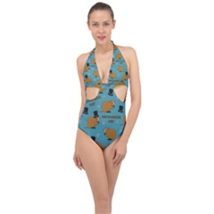 Groundhog Day Pattern Halter Front Plunge Swimsuit