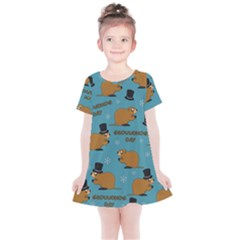 Groundhog Day Pattern Kids  Simple Cotton Dress