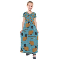 Groundhog Day Pattern Kids  Short Sleeve Maxi Dress