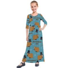 Groundhog Day Pattern Kids  Quarter Sleeve Maxi Dress