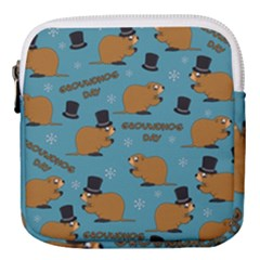 Groundhog Day Pattern Mini Square Pouch