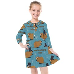 Groundhog Day Pattern Kids  Quarter Sleeve Shirt Dress