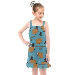Groundhog Day Pattern Kids  Overall Dress
