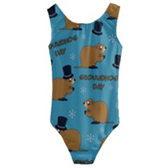 Groundhog Day Pattern Kids  Cut Out Back One Piece Swimsuit