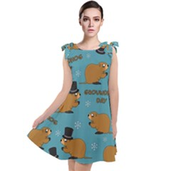 Groundhog Day Pattern Tie Up Tunic Dress