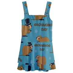 Groundhog Day Pattern Kids  Layered Skirt Swimsuit
