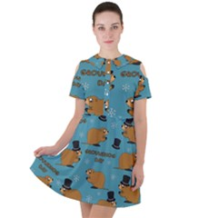 Groundhog Day Pattern Short Sleeve Shoulder Cut Out Dress