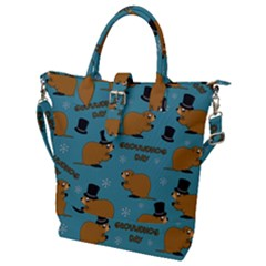 Groundhog Day Pattern Buckle Top Tote Bag
