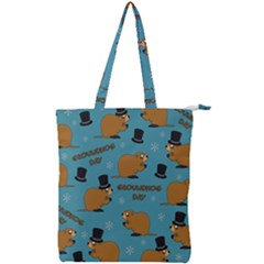 Groundhog Day Pattern Double Zip Up Tote Bag