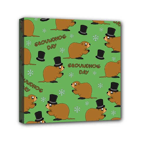 Groundhog Day Pattern Mini Canvas 6  X 6  (stretched)