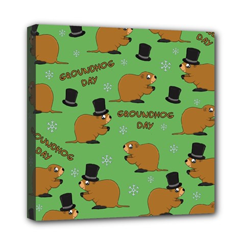 Groundhog Day Pattern Mini Canvas 8  X 8  (stretched)