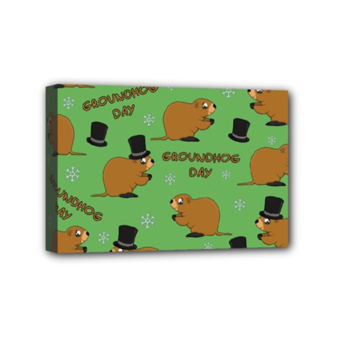 Groundhog Day Pattern Mini Canvas 6  X 4  (stretched)