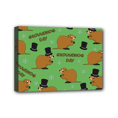 Groundhog Day Pattern Mini Canvas 7  X 5  (stretched)
