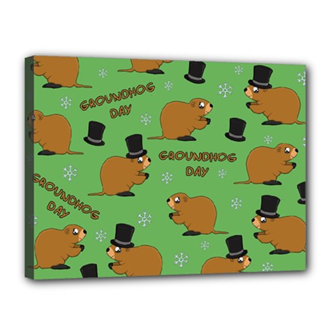 Groundhog Day Pattern Canvas 16  X 12  (stretched)