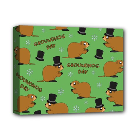 Groundhog Day Pattern Deluxe Canvas 14  X 11  (stretched)