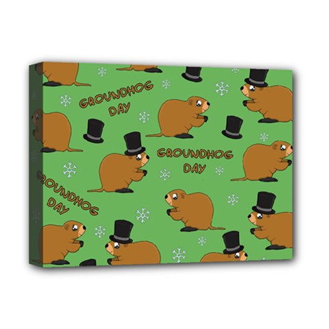 Groundhog Day Pattern Deluxe Canvas 16  X 12  (stretched)