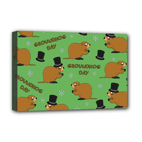 Groundhog Day Pattern Deluxe Canvas 18  X 12  (stretched)