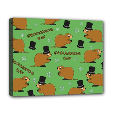 Groundhog Day Pattern Deluxe Canvas 20  X 16  (stretched)