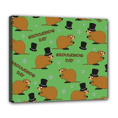 Groundhog Day Pattern Deluxe Canvas 24  X 20  (stretched)