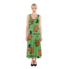 Groundhog Day Pattern Sleeveless Maxi Dress