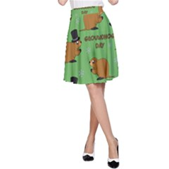 Groundhog Day Pattern A Line Skirt
