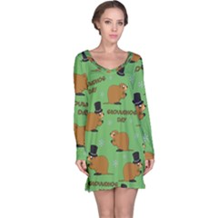 Groundhog Day Pattern Long Sleeve Nightdress