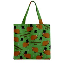 Groundhog Day Pattern Zipper Grocery Tote Bag