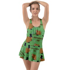 Groundhog Day Pattern Ruffle Top Dress Swimsuit