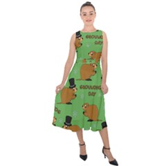Groundhog Day Pattern Midi Tie Back Chiffon Dress