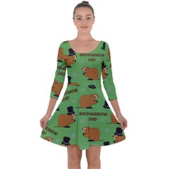 Groundhog Day Pattern Quarter Sleeve Skater Dress
