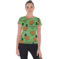 Groundhog Day Pattern Short Sleeve Sports Top