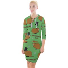 Groundhog Day Pattern Quarter Sleeve Hood Bodycon Dress