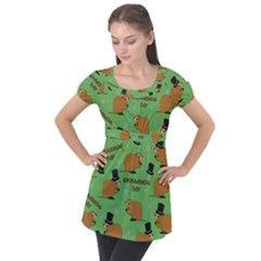 Groundhog Day Pattern Puff Sleeve Tunic Top