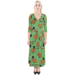 Groundhog Day Pattern Quarter Sleeve Wrap Maxi Dress