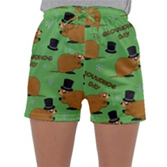 Groundhog Day Pattern Sleepwear Shorts