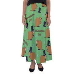 Groundhog Day Pattern Flared Maxi Skirt