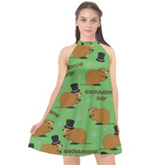 Groundhog Day Pattern Halter Neckline Chiffon Dress