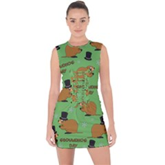 Groundhog Day Pattern Lace Up Front Bodycon Dress