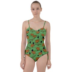 Groundhog Day Pattern Sweetheart Tankini Set